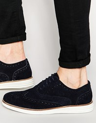 Dune Brogues In Navy Suede With Contrast Sole Blue