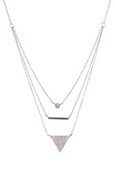 Gab Cos Designs Sterling Silver Triple Layered Cz Necklace Metallic