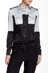 L.A.M.B. Hammered Silk Blouse Black