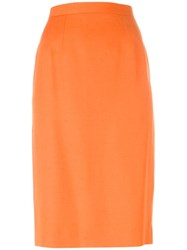 Guy Laroche Vintage Classic Pencil Skirt Yellow And Orange