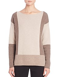 Vince Colorblock Intarsia Wool And Cashmere Sweater Toast Khaki