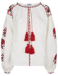 Fanm Mon Ivory Linen Floral Embroidered Blouse White