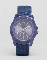 Reclaimed Vintage Canvas Military Watch In Navy Navy Blue