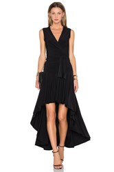 Norma Kamali Sleeveless Flared Wrap Dress Black