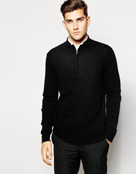 United Colors Of Benetton 100 Merino Wool Jumper With High Zip Neck Black100