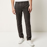River Island Mens Light Grey Slim Cropped Trousers