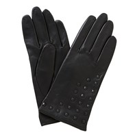 John Lewis Cashmere Lined Studded Leather Gloves Black