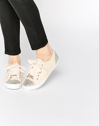 Lipsy Anna Nude Embellished Sneaker Trainers Beige