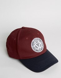 Asos Baseball Cap With Embroidery Burgundy Navy Red