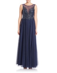 Basix Ii Sequined Illusion Front Gown Navy