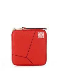 Loewe Puzzle Zip Around Small Leather Wallet Red