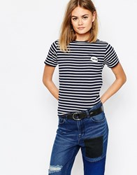 Daisy Street Stripe T Shirt With I Like You Navy