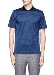 Canali Houndstooth Cotton Polo Shirt Blue