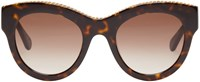 Stella Mccartney Tortoiseshell Cat Eye Chain Sunglasses