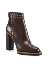 Tod's Stitched Leather Stack Heel Booties Chocolate