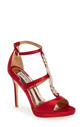 Women's Badgley Mischka 'Pilar' T Strap Pump Red Satin