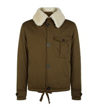 Loewe Shearling Collar Cotton Jacket Male Khaki