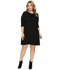 Christin Michaels Plus Size Abida 3 4 Sleeve Flowy Dress Black Women's Dress