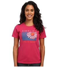 Life Is Good Simplify Daisy Crusher Tee Rose Berry Women's T Shirt Pink