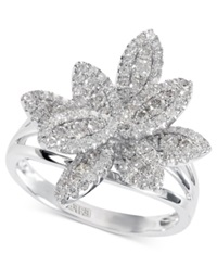 Effy Collection Effy Diamond Pave Diamond Leaf Ring 3 4 Ct. T.W. In 14K White Gold