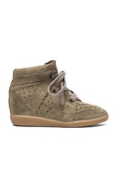 Isabel Marant Bobby Calfskin Velvet Leather Sneakers In Brown