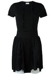 Red Valentino Tulle Detailed Knit Dress Black