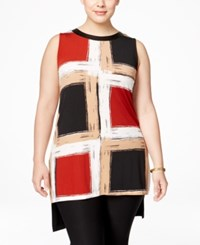 Alfani Plus Size Colorblocked High Low Tunic Only At Macy's Brushed Blocks