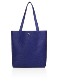 Ethan K Sands Reversible Ostrich Tote Iris Blue