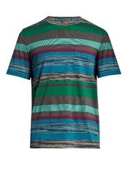 Missoni Multi Striped Patch Pocket Cotton T Shirt Blue Multi