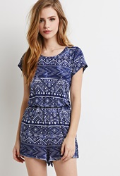 Forever 21 Tribal Print Romper Blue Cream