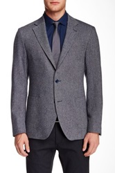 Ike Behar Houndstooth Notch Lapel Two Button Sportcoat Blue