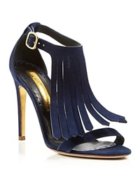 Rupert Sanderson Fringe Sandals Marlena High Heel Twilight Navy Blue