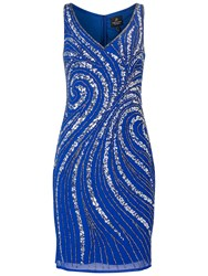 Adrianna Papell Sleeveless Beaded Cocktail Dress Electric Blue