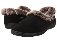 Acorn Faux Chinchilla Collar Black Women's Slippers
