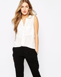 Mango Sleeveless Utility Blouse White