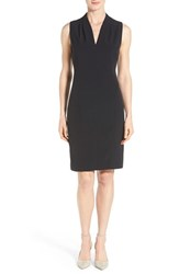Women's T Tahari 'Tonya' V Neck Sheath Dress Navy