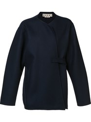 Marni Double Faced Wrap Jacket Blue
