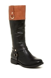 Pink Pop Suzy Two Tone Riding Boot Black
