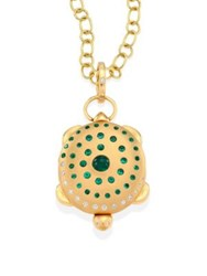 Temple St. Clair Turtle Diamond Emerald And 18K Yellow Gold Locket Gold Emerald
