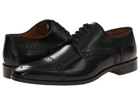 Massimo Matteo Cap Toe Mediallion Black Men's Dress Flat Shoes