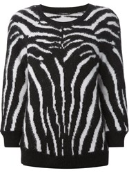 Balmain Zebra Pattern Sweater Black