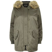 River Island Womens Khaki Faux Fur Hooded Parka