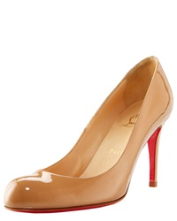 Christian Louboutin Simple Patent Red Sole Pump Nude Brown