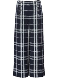 Derek Lam 10 Crosby Double Buttoned Flared Cropped Trousers Blue