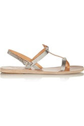 Ancient Greek Sandals Galini Metallic Leather Sandals