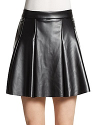 Saks Fifth Avenue Red Pleated Faux Leather Circle Skirt Black