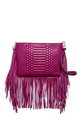 Brian Atwood Landon Leather Fringe Crossbody Red