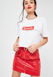 Missguided White Sprouts Not Just For Christmas Cropped T Shirt