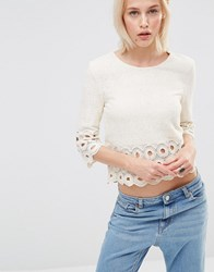 Lavand Crochet Trim Cropped Top Cream White