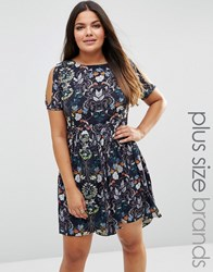 Lovedrobe Plus Skater Dress With Cold Shoulder In Vintage Floral Print Navy